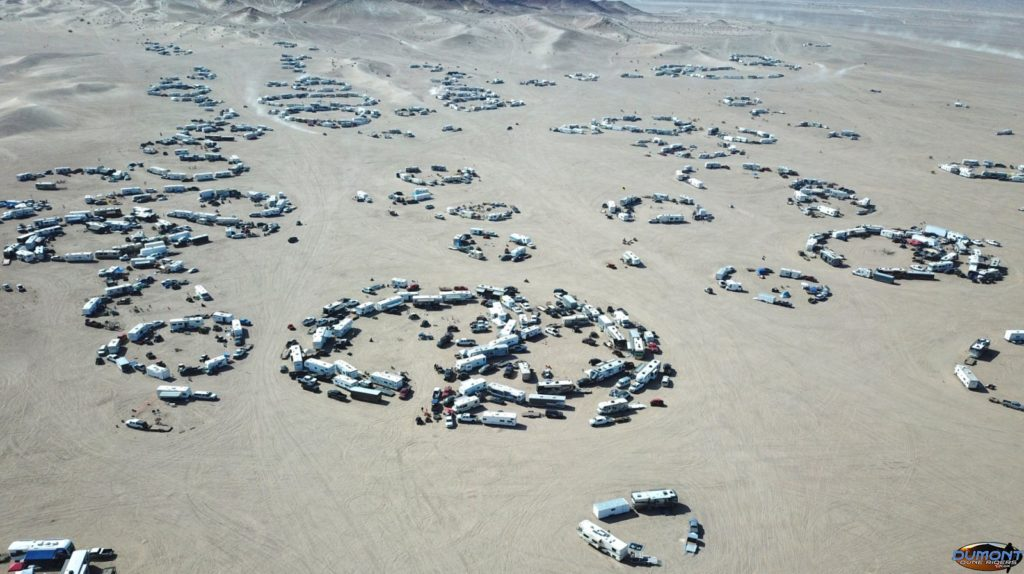 Aerial view of dune participants